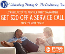 $20 off on service calls from Williamsburg Heating and Air Conditioning